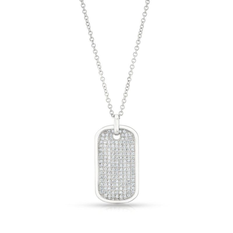 14KT White Gold Diamond Dog Tag Necklace