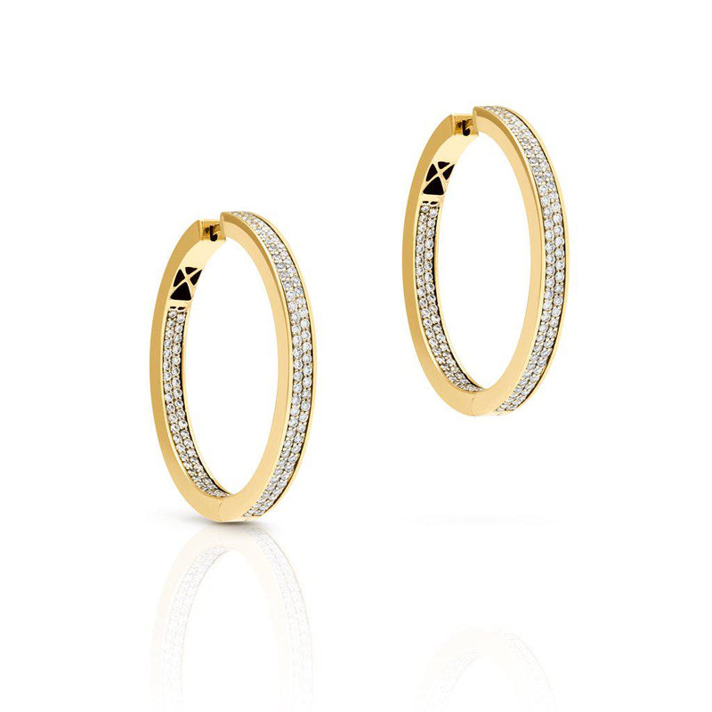 14KT Yellow Gold Diamond Ostara Hoop Earrings