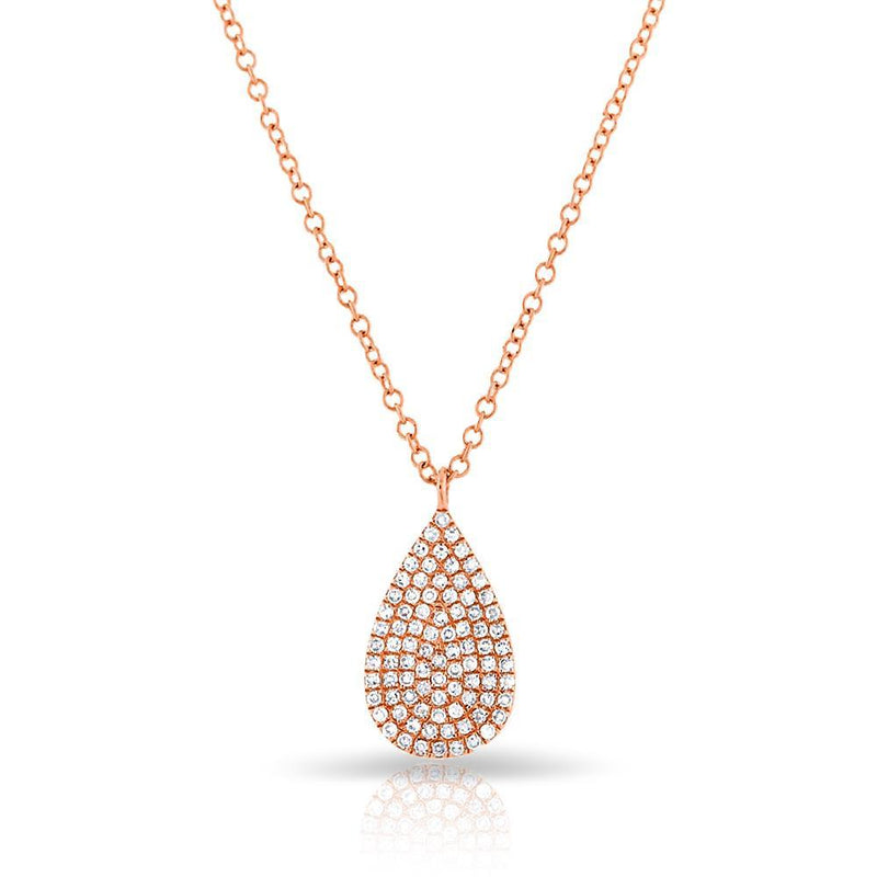 14KT Rose Gold Diamond Small Pear Necklace
