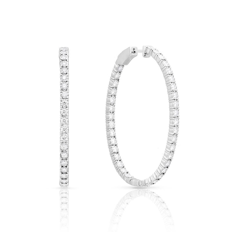14KT White Gold Diamond Oval Bella Hoop Earrings