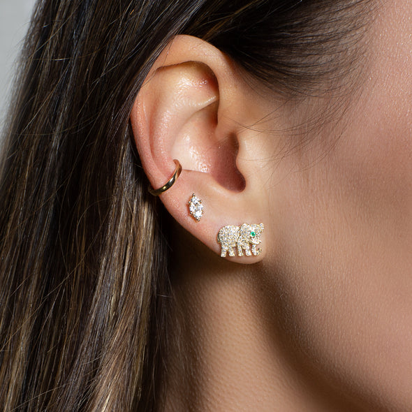 KAAP elephant diamond and emerald earrings
