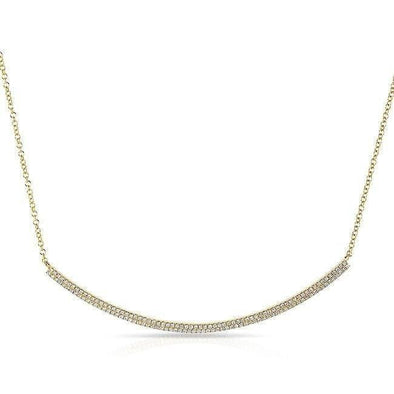 14KT Yellow Gold Diamond Double Sleek Crescent Necklace