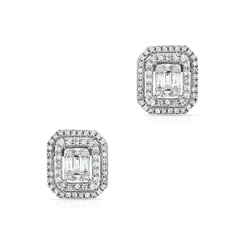 14KT White Gold Baguette Diamond Square Stud Earrings