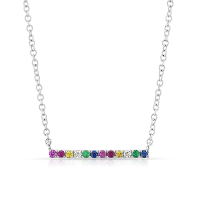 14KT White Gold Rainbow Diamond Bar Necklace