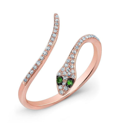 14KT Rose Gold Diamond Slytherin Ring with Emerald Eyes