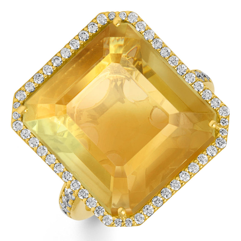 18KT Yellow Gold Lemon Topaz Diamond Theodora Ring