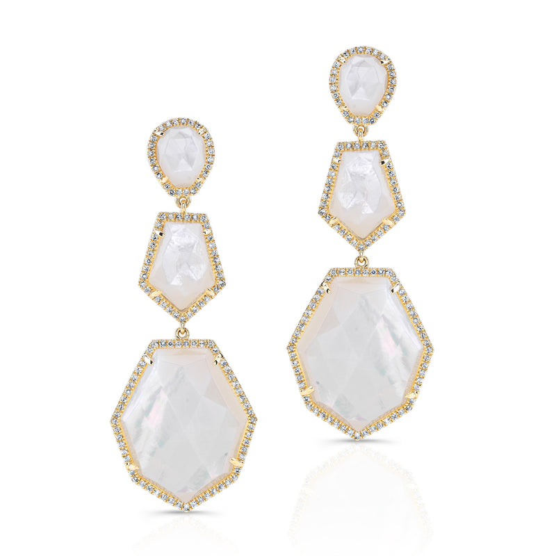 14KT Yellow Gold Mother Of Pearl Diamond Ice Earrings