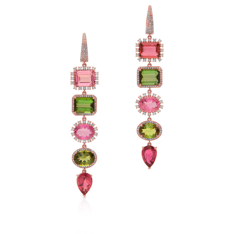 14KT Rose Gold Tourmaline Diamond Florentina Earrings