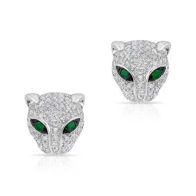 14KT White Gold Diamond Emerald Jaguar Stud Earrings