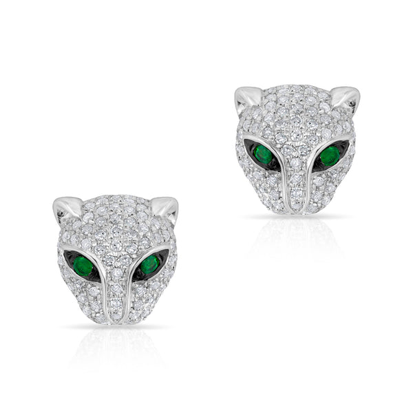 panther tiger jaguar diamond stud earrings leopard