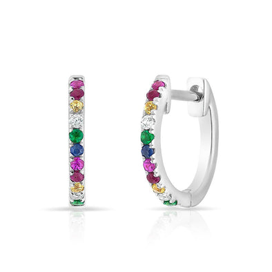 14KT White Gold Rainbow Diamond Huggie Earrings