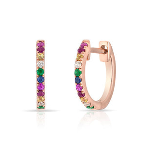 14KT Rose Gold Rainbow Diamond Huggie Earrings