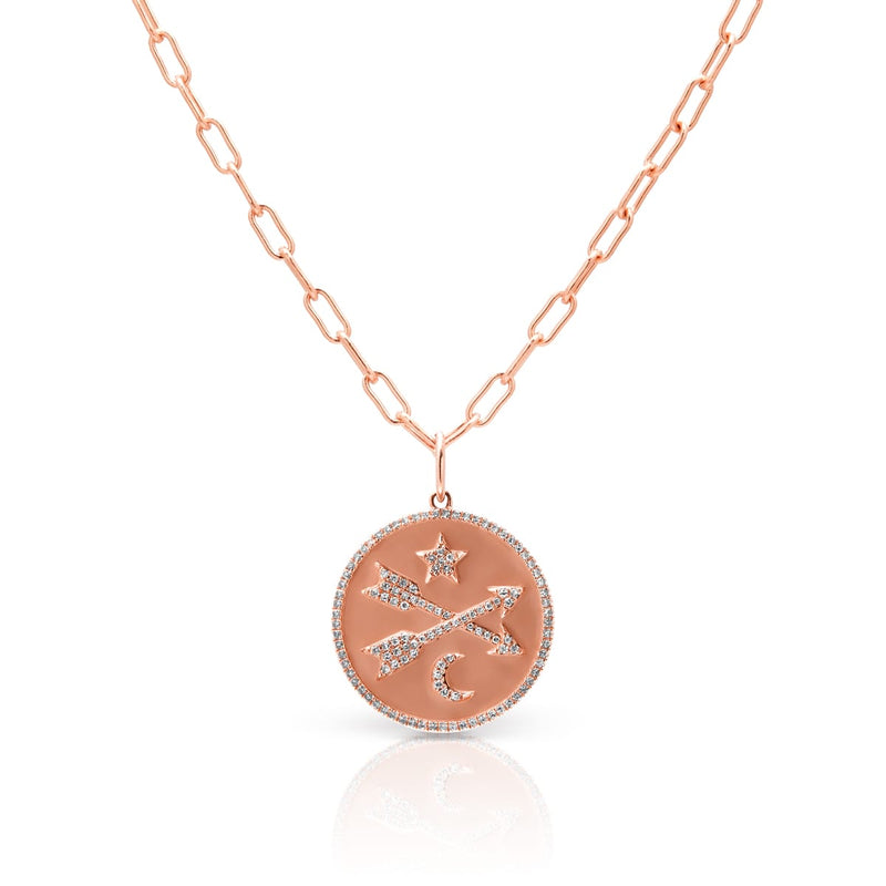 14KT Rose Gold Diamond Forever Moon and Star Charm Medallion
