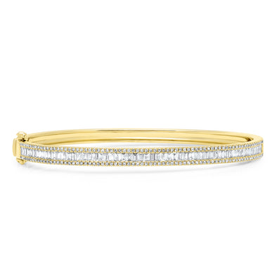 14KT Yellow Gold Diamond Eloise Baguette Bangle