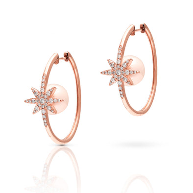 14KT Rose Gold Diamond Starburst Pearl Hoop Earrings