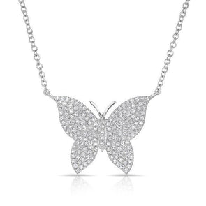 14KT White Gold Pave Diamond Butterfly Necklace