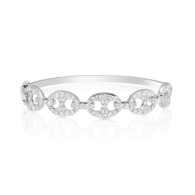 14KT White Gold Diamond Reign Bangle Bracelet