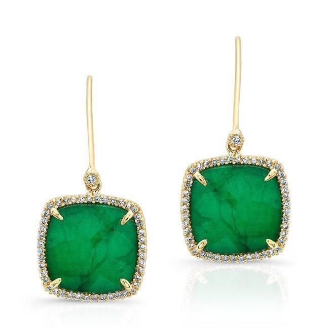 14KT Yellow Gold Emerald Diamond Small Cushion Cut Earrings
