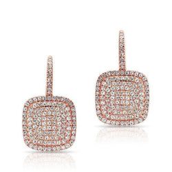 14KT Rose Gold Diamond Cushion Earrings
