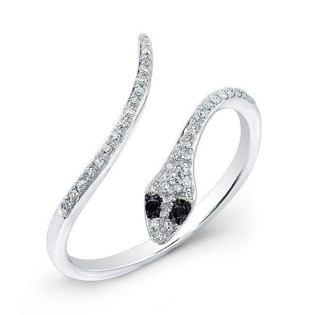 14KT White Gold Diamond Slytherin Ring with Black Diamond Eyes