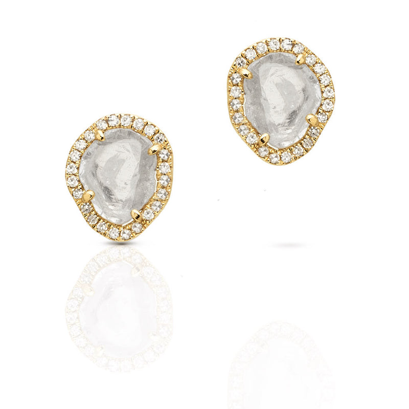 14KT Yellow Gold Diamond Slice Stud Earrings