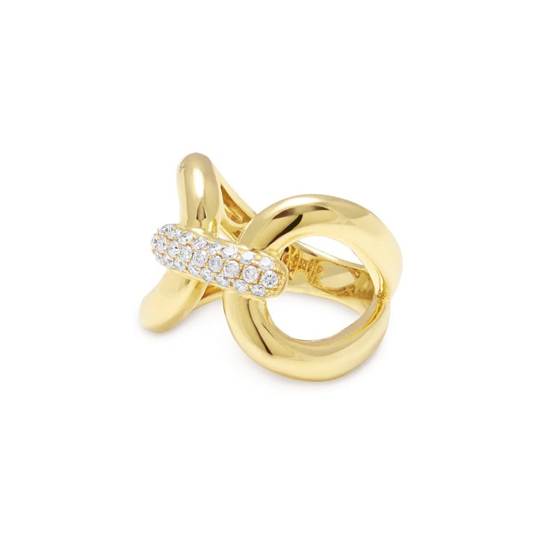 14KT Yellow Gold Diamond Interlock Ring