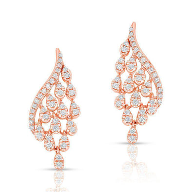 14KT Rose Gold Diamond Drop Tipped Carice Earrings