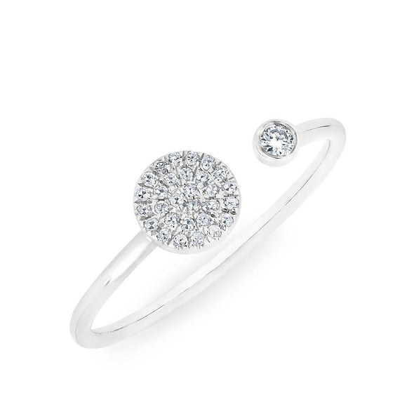 14KT White Gold Diamond Disc and Bezel Ring