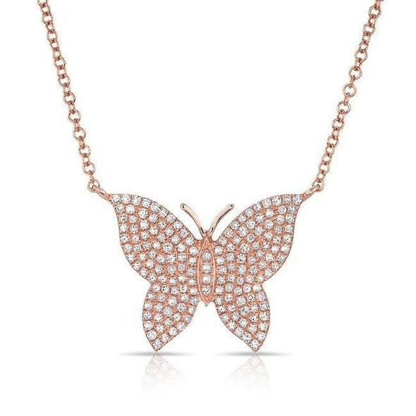 14KT Rose Gold Pave Diamond Butterfly Necklace