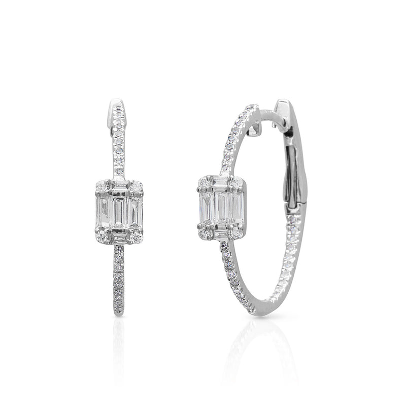 14KT White Gold Baguette Diamond Caili Hoop Earrings