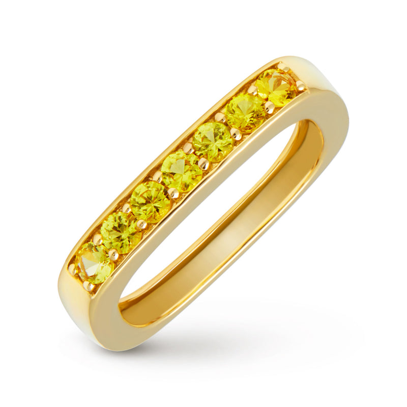 14KT Yellow Gold Sapphire Faye Square Ring