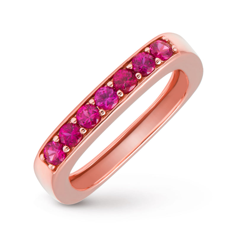 14KT Rose Gold Ruby Faye Square Ring
