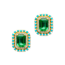 14KT Yellow Gold Emerald Turquoise Diamond Earrings