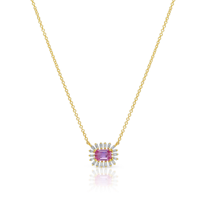 14KT Yellow Gold Pink Sapphire Baguette Diamond Audelia Necklace