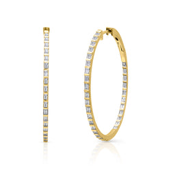 "14KT Yellow Gold Baguette Diamond Clarabella 1.5"" Hoop Earrings"