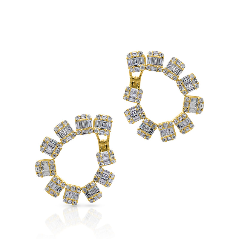 14KT Yellow Gold Baguette Diamond Marcela Earrings
