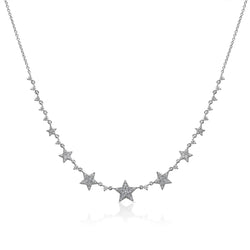 14KT White Gold Diamond String of Stars Necklace