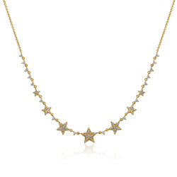 14KT Yellow Gold Diamond String of Stars Necklace
