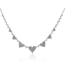 14KT White Gold Diamond String of Hearts Necklace