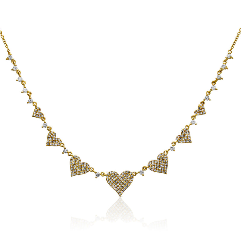 14KT Yellow Gold Diamond String of Hearts Necklace