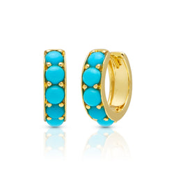14KT Yellow Gold Turquoise Darya Huggies Earrings