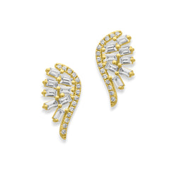 14KT Yellow Gold Baguette Diamond Wings Earrings