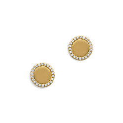 14KT Yellow Gold Diamond Round Stud Earrings