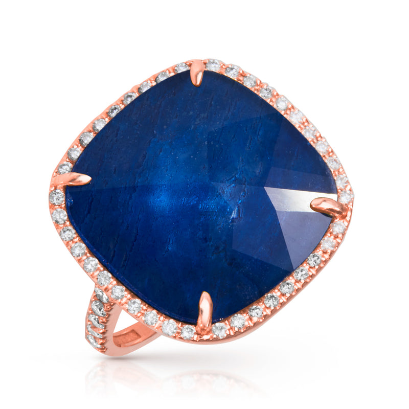 14KT Rose Gold Diamond Blue Sapphire Triplet Cushion Cut Cocktail Ring