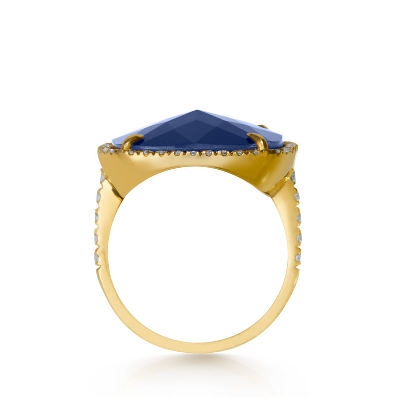 14KT Yellow Gold Diamond Blue Sapphire Triplet Cushion Cut Cocktail Ring