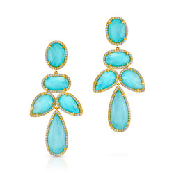 14KT Yellow Gold Turquoise Doublet Diamond Bellissima Earrings