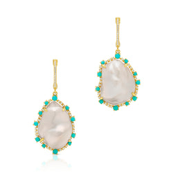 14KT Yellow Gold Baroque Pearl Turquoise Diamond Moorea Earrings