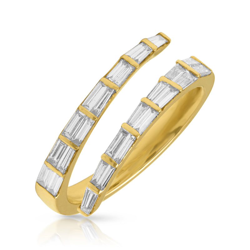 14KT Yellow Gold Baguette Diamond Open Wrap Ring