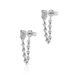 14KT White Gold Baguette Diamond Amie Earrings