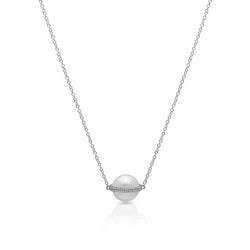 14KT White Gold Diamond Pearl Hannah Necklace